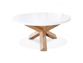 Witte ronde salontafel 'MARVEL' met massief eikenhout - Ø 80 cm