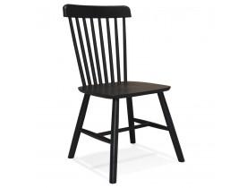 Zwarte houten design stoel 'MONTANA' met rugleuning met spijlen - bestel per 2 stuks / prijs voor 1 stuk