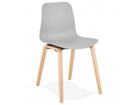 Scandinavische stoel 'PACIFIK' grijs met natuurlijk houten poten