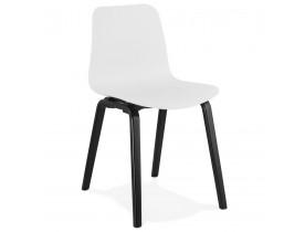 Design stoel 'PACIFIK' wit met zwarte houten poten