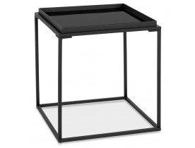 Zwarte salontafel 'POKER MINI' met blad van geverfd glas