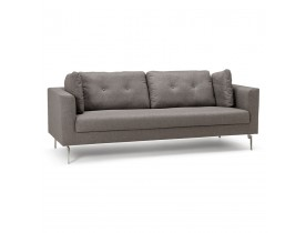 Heel moderne, rechte zitbank met 3 plaatsen 'SIXTY' in grijze stof
