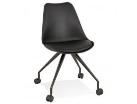 Zwarte bureaustoel op wieltjes 'SKIN' met metalen frame