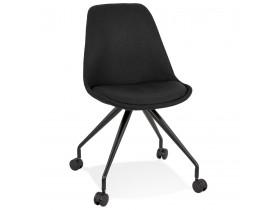 Bureaustoel op wieltjes 'SNAP' met zwarte stof en wit metalen frame