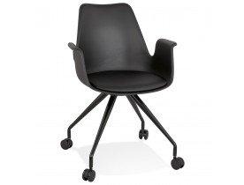 Zwarte bureaustoel op wieltjes met armleuningen 'SPLIT'