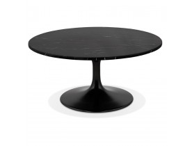 Lage salontafel 'URSUS MINI' van zwart marmer met centrale poot