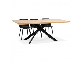 Design eettafel met x-vormige centrale voet 'WALABY' van hout met natuurlijke afwerking - 200x100 cm