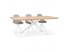 Design eettafel 'WALABY' in hout met natuurlijke afwerking en met witte x-vormige centrale voet - 200 x 100 cm
