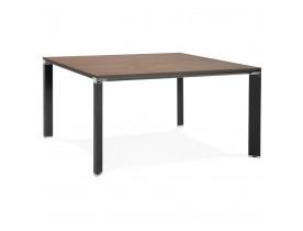 Vergadertafel / bench-bureau 'XLINE SQUARE' met notenhouten afwerking en zwart metaal - 140x140 cm