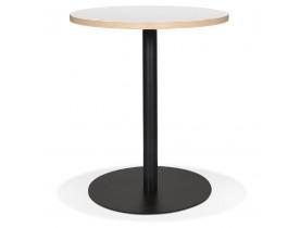 Witte ronde bistrotafeltje 'YOGI' met een zwarte metalen poot - Ø 60 cm