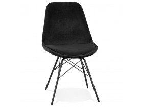 Design stoel 'ZAZY' van zwarte fluweel met zwarte metalen poten