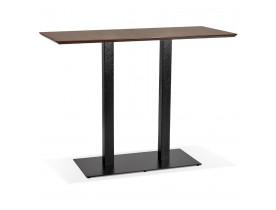 Hoge design tafel 'ZUMBA BAR' met notenhouten afwerking en zwarte metalen poot - 150x70 cm