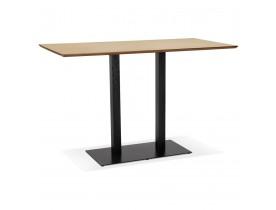 Hoge design tafel 'ZUMBA BAR' van natuurlijk afgewerkt hout met zwarte metalen poot - 180x90 cm
