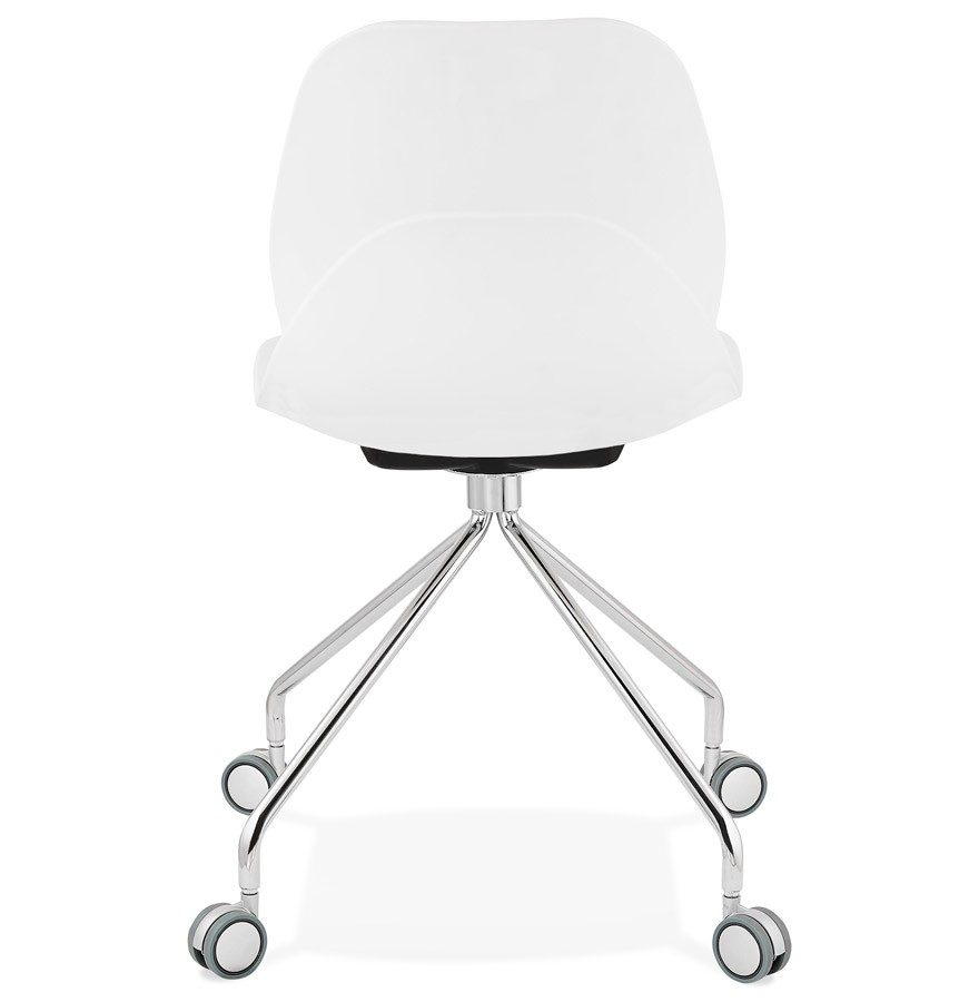Moderne bureaustoel rally wit op wieltjes for Witte eetkamerstoelen op wieltjes