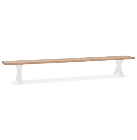 Grote design bank 'ALEXANDRA BENCH' van hout en wit metaal - 300 cm
