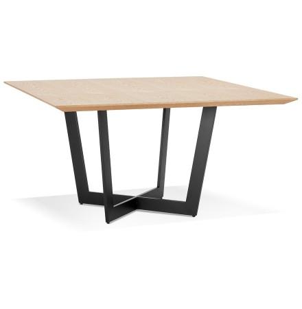 Vierkante eettafel 'ANITA' van natuurkleurig afgewerkt hout en zwart metaal - 140x140 cm