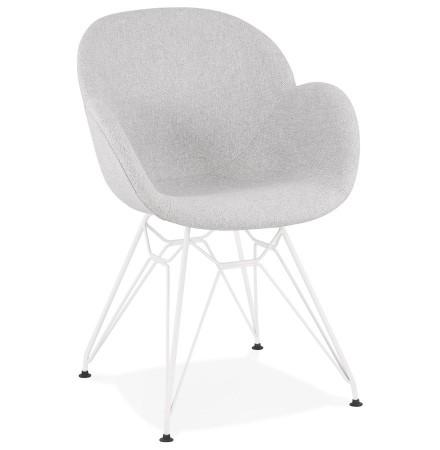 Moderne stoel 'ATOL' in lichtgrijze stof met wit metalen onderstel