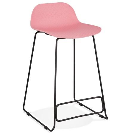 Halfhoge kruk 'BABYLOS MINI' roze industriële stijl met zwart metalen voeten