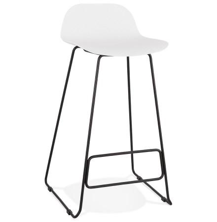 Design barkruk 'BABYLOS' wit industriële stijl met zwart metalen voeten