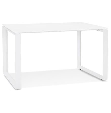 Kleine rechte design bureautafel 'BAKUS' van wit glas en metaal - 120x60 cm