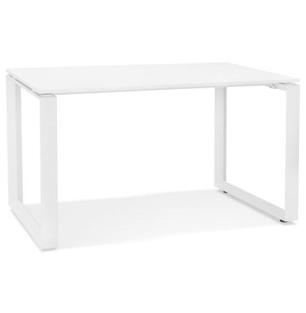 Kleine rechte design bureautafel 'BAKUS' van wit hout en metaal - 120x60 cm