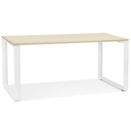 Rechte design bureau 'BAKUS' van natuurkleurig afgewerkte hout en wit metaal - 160x80 cm