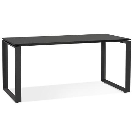 Rechte design bureau 'BAKUS' van zwart hout en metaal - 160x80 cm
