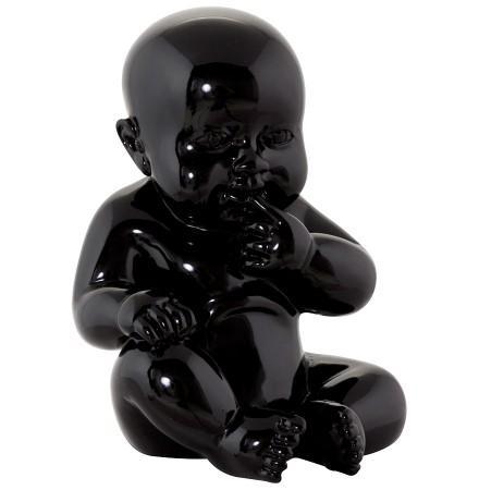 Beeld 'BABY', zittende baby in zwart polyhars