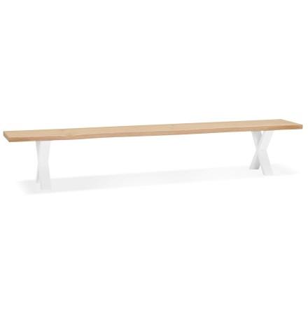 6 plaatsen bank 'BENEFIK BENCH' van massief hout en wit metaal - 300 cm