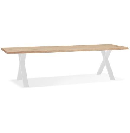 Eettafel 'BENEFIK' van eikenhout met witte poten - 300X100 CM