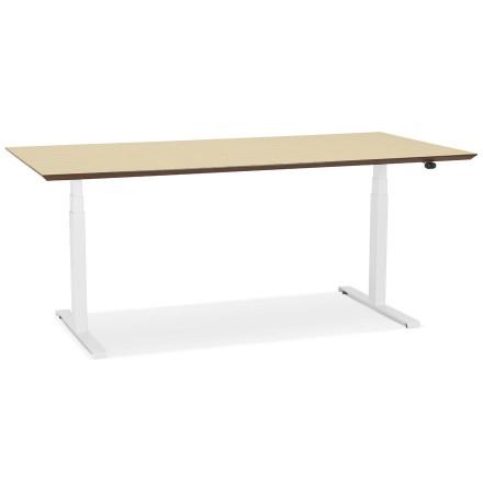 Witte elektrische zit/sta-bureau 'BIONIK' met blad in natuurlijke houtafwerking - 180x90 cm