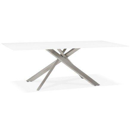 Design eettafel 'BIRDY' in wit glas met metalen centrale voet - 200 x 100 cm