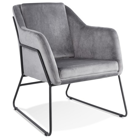 Design loungefauteuil 'BRANDO' van grijs velours