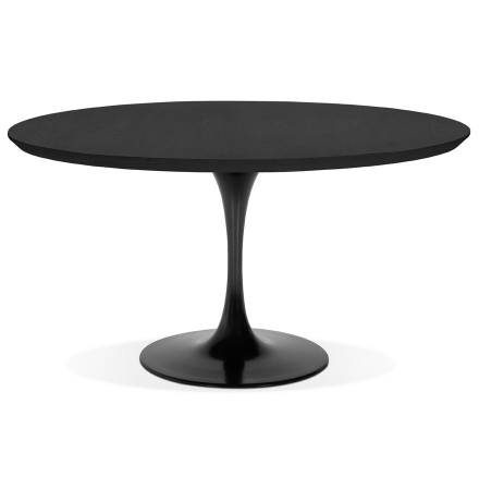 Ronde eetkamertafel 'BRIK' van zwart hout met centrale poot van zwart metaal - Ø 140 cm
