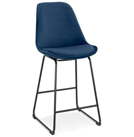 Tabouret snack mi-hauteur 'BULLY MINI' en velours bleu et pieds en métal noir