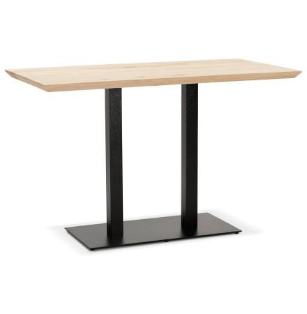 Hoog tafeltje 'CAPULCO BAR' van massief hout met zwart onderstel -160x80 cm