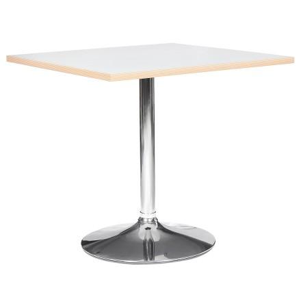 Witte vierkante tafel 'CASTO SQUARE' met verchroomde poot - 80x80 cm