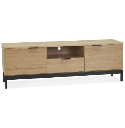 Design tv-meubel 'CATODIK' in hout met natuurlijke afwerking en zwart metaal
