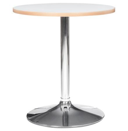 Witte ronde tafel 'CASTO ROUND' met verchroomde poot - Ø 80 cm