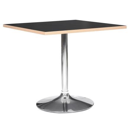 Zwarte vierkante tafel 'CASTO SQUARE' met verchroomde poot - 80x80 cm