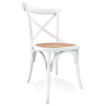 Retro, witte houten keukenstoel 'CHABLY' - bestel per 2 stuks / prijs voor 1 stuk
