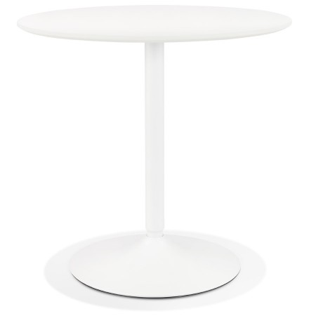 Ronde designtafel 'CHIVA' van hout en wit metaal - Ø 80 cm