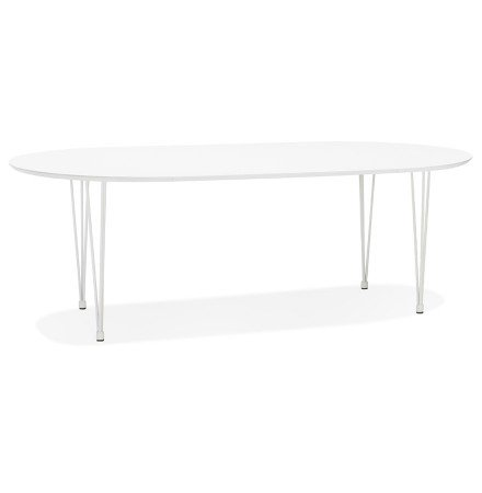 Ronde uitschuifbare witte eet-/vergadertafel 'CHAMONIX' - 120(220)x120 cm
