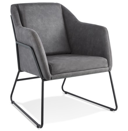 Design loungefauteuil 'COMIK' van donkergrijze microvezel