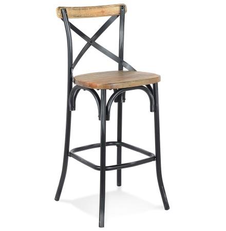 Tabouret de bar 'COTTAGE' en bois finition Noyer effet vieilli noir