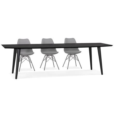 Uitschuifbare zwarte houten eettafel 'CROKUS' - 170-270x100 cm