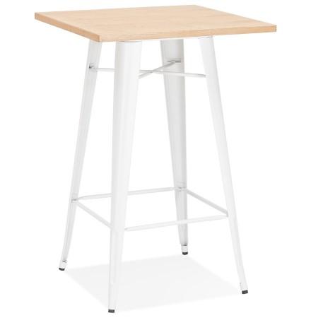 Hoge industriële tafel 'DARIUS' van licht hout met witte metalen poten