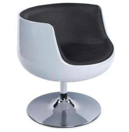 Bolvormige, draaibare design zetel 'DEKO' uit zwart imitatieleder met witte zitschaal
