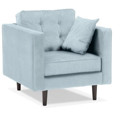 Lichtblauwe fluwelen salonfauteuil met 1 plaats 'DELYA MICRO'