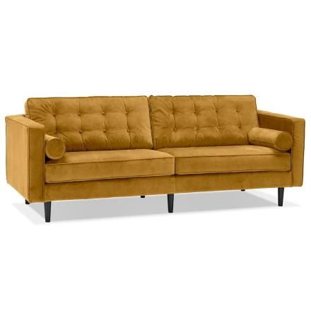 Grote rechte zetel 'DELYA XL' van mosterdgeel fluweel - Zetel met 3 plaatsen